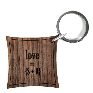 Love Equation Walnut Keyring